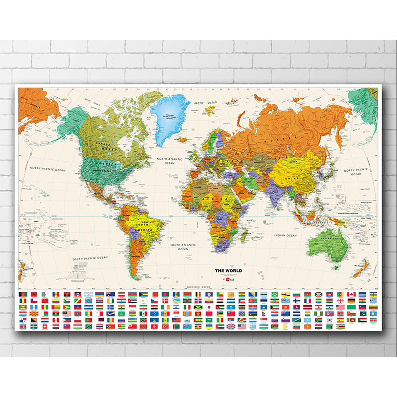Cross-border Poster Home Decoration Painting Living Room Porch Painting World Map Without Frame Painting Core Gift Store