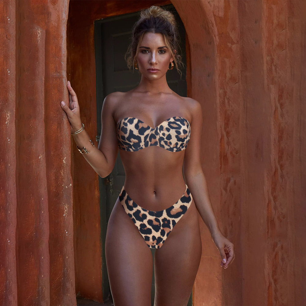 Swimsuit Sexy Bikini-Set Bandeau Beach-Wear Animal-Print Brazilian Thong Push-Up Women