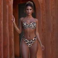 Animal Print Leopard Bikini Push Up Swimsuit Sexy Women Bikini Set 2021 Brazilian Thong Bathing Suit Bandeau Beach Wear Swimwear 1