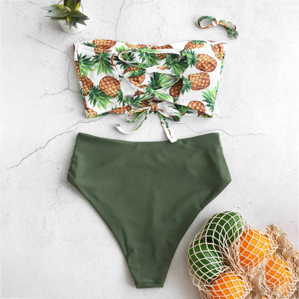 2020 Wanita Bikini Set Ruffle Floral Swimsuit Push Up High Waist Retro Biquini Plus Ukuran Mujer Baju Renang Tankini # J30