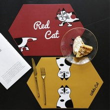 Cartoon Cat PU Placemat Waterproof Dining Table Mats Heat Insulation Pads Non-Slip Tableware Pad Cup Coaster Kitchen Accessorie