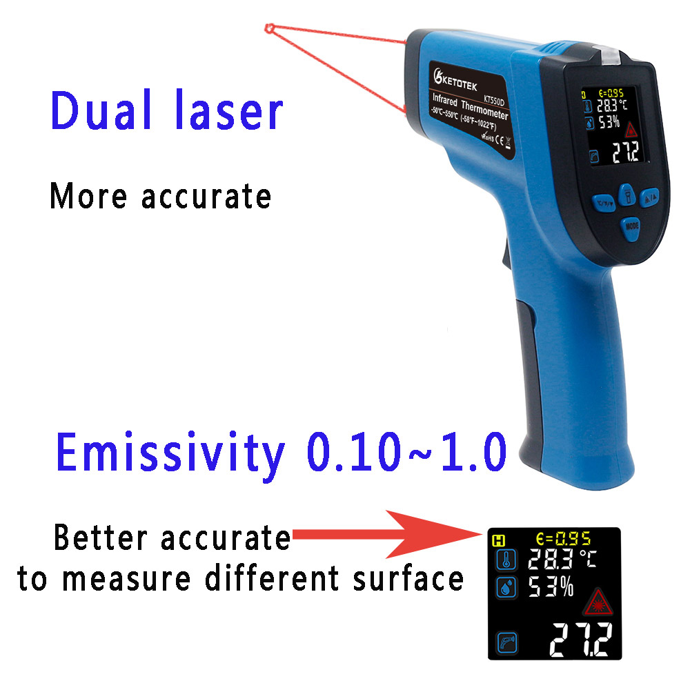 Image 5 - IR Infrared Thermometer Hygrometer 0 99%RH Digital Non contact 