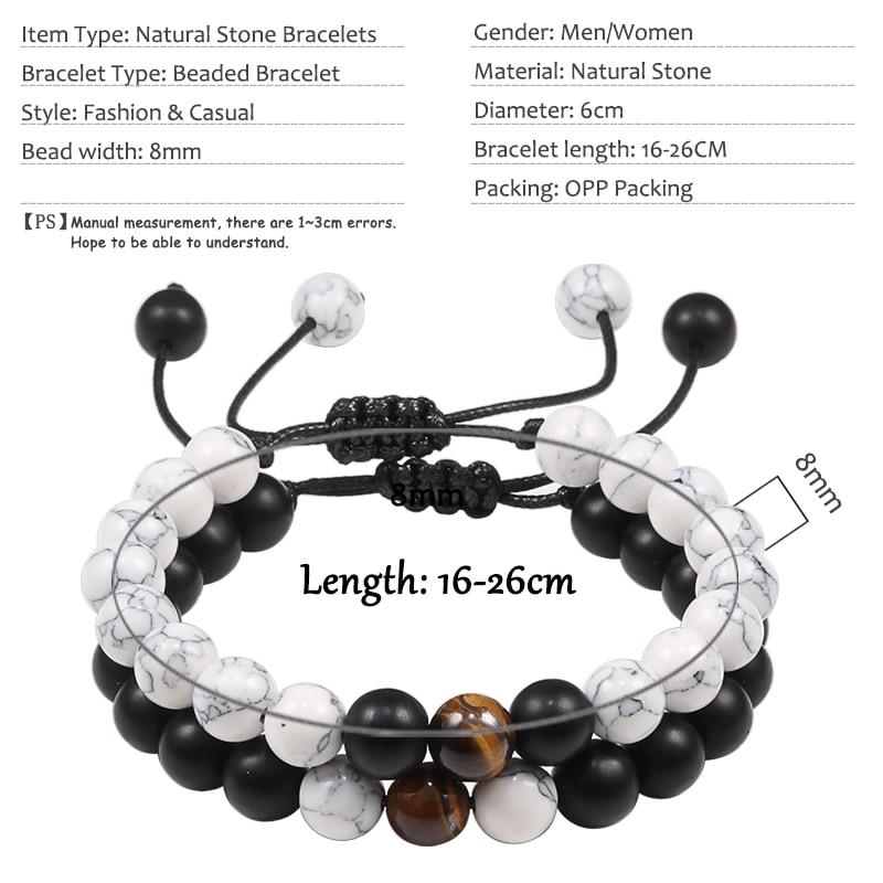 2PCS/Set Braided Bracelets Men Natural Stone YingYang Lava Bead Bracelet Yoga Bangles Best Friend Jewelry Couple Gift Set Unisex