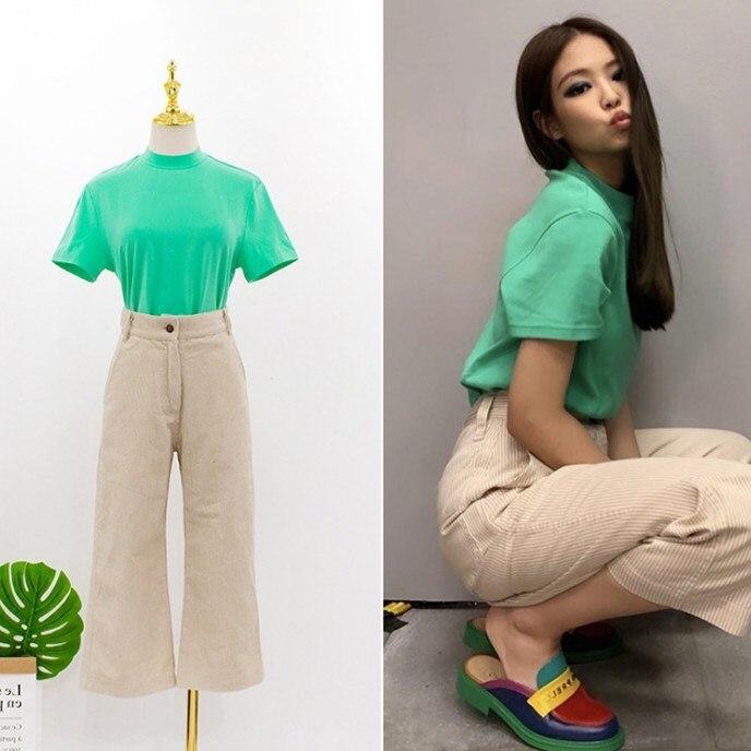 Kpop blackpink jennie 2020 nova harajuku listra calças de cintura alta tshirt duas peças conjunto feminino verão solto t camisa e calças conjunto