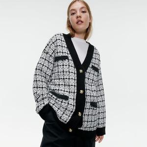 Свободный твидовый Кардиган Женская одежда Za модная куртка одежда высокого качества праздничные подарки 2019 новое пальто