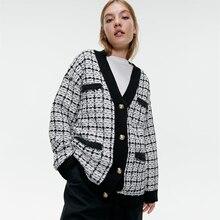 Loose Tweed Cardigan Women's Clothing Za Fashion Jacket High Quality Clothes Fes
