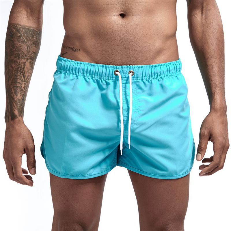 Pocket Swimming Shorts Men's Beach Solid Breathable Shorts Casual Fitness Fast Dry Beachwear Plus Size Male Jogging Sportswear
