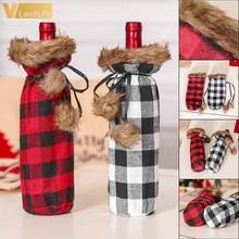 Ornament Decorative Wine-Bottle-Holder Christmas-Buffalo Xmas Party Dinner Plaid Sweater