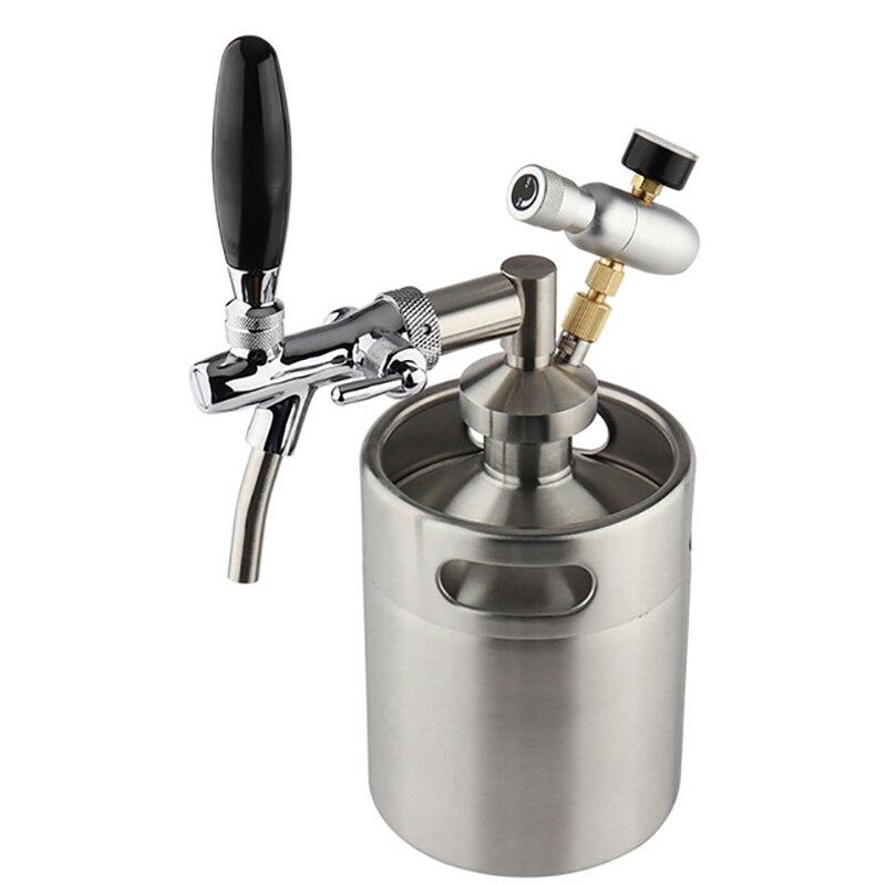 Mini barril 5l, sistema de barril de cerveja pressurizado 64oz de aço inoxidável mini barril growler ajustável torneira da cerveja premium kit carregador co2