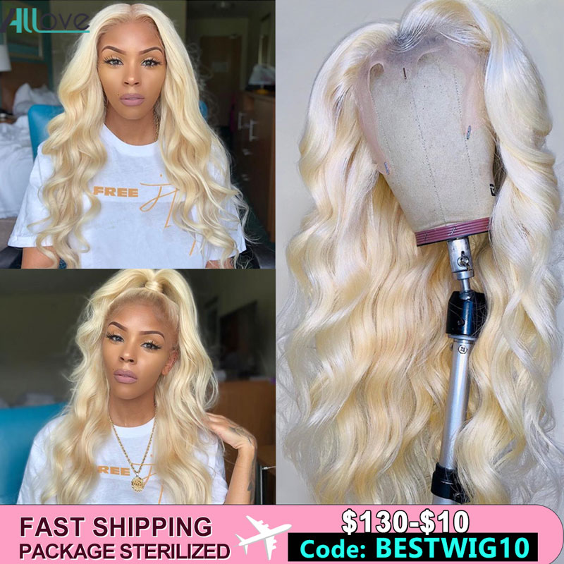 Allove 613 Lace Front Wig 1B/613 Ombre Human Hair Wig Body Wave Lace Front Human Hair Wigs Brazilian Colored Human Hair Wigs