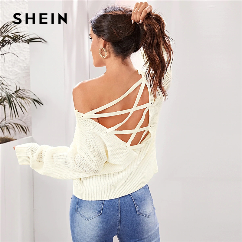 SHEIN Beige Solid Lace Up Backless Sweater Women Autumn Winter V Neck Long Sleeve Highstreet Sexy Sweaters