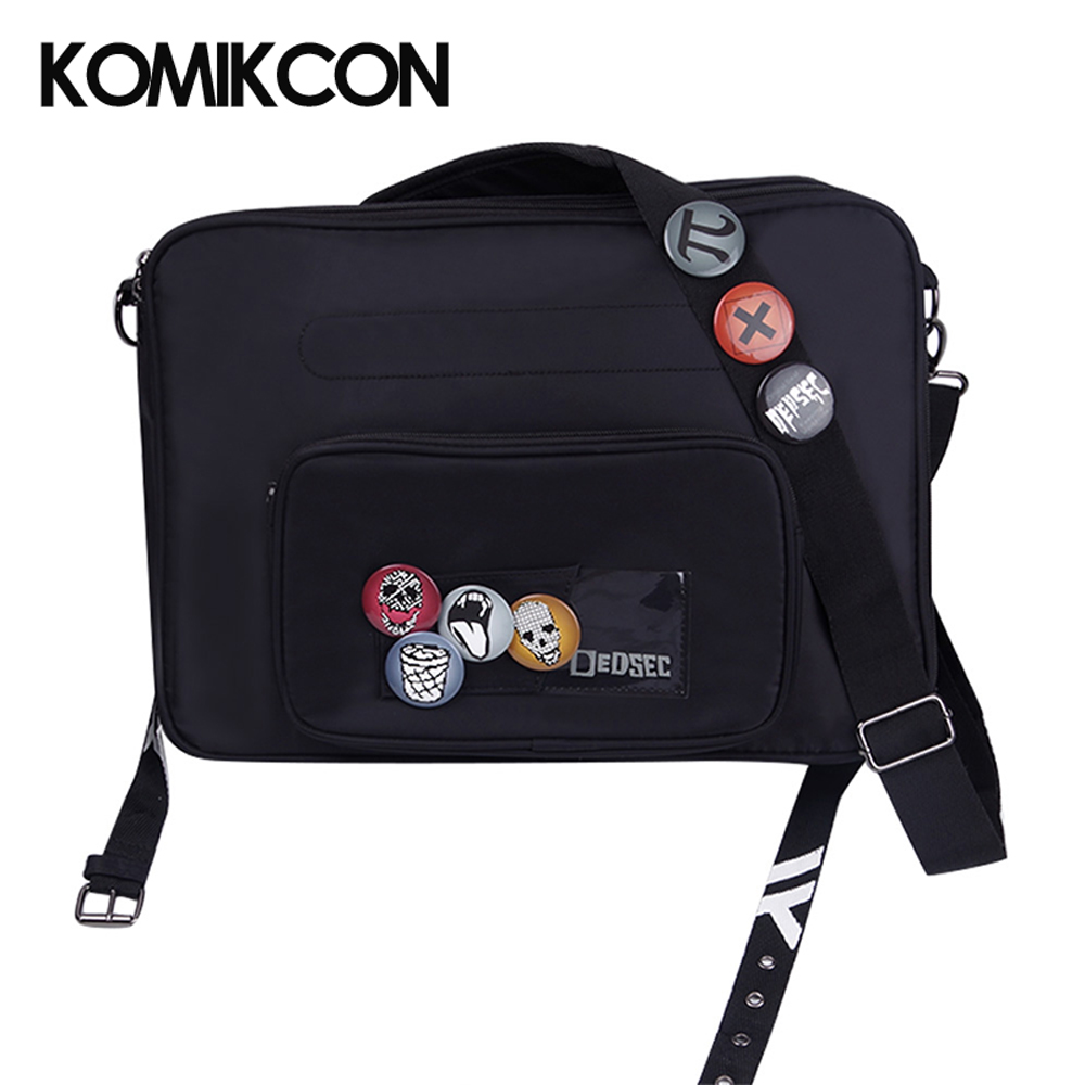 Game Watch Dogs 2 Marcus Holloway Cosplay Bag Men Women Black Satchel With Badge Adults Carnival Party Props Backpack Casual Bag