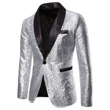 Puimentiua Mens Autumn Suit Large Size Hem One Button Blazer Coat Cocktail Sequined Jacket Casual Dance NEW