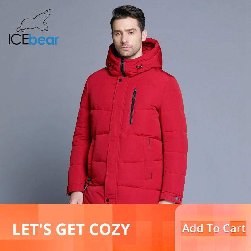 Erkek Kıyafeti'ten Parkalar'de ICEbear 2019 Sıcak Satış Kış sıcak Rüzgar Geçirmez  Erkek Parkas Yüksek Kaliteli Parka Moda Rahat Ceket MWD18856D'da  Grup 1