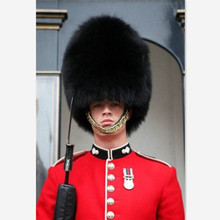 Adults black british soldier hat guard cap royal with fur winter english