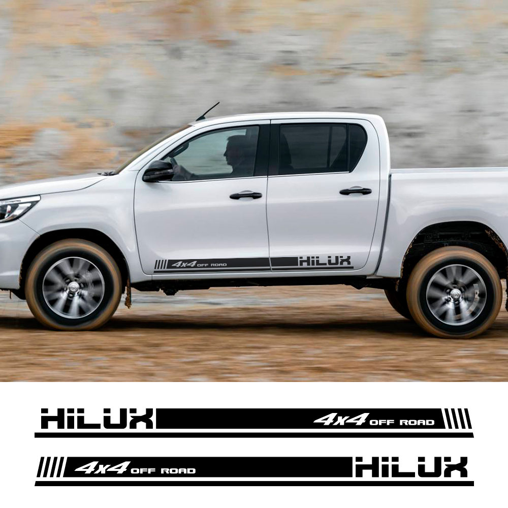 2PCS Racing <font><b>4x4</b></font> <font><b>Off</b></font> <font><b>Road</b></font> Decals Car Door Side Stripes <font><b>Stickers</b></font> For Toyota Hilux Auto Body Decor Vinyl Film Decals Accessories image