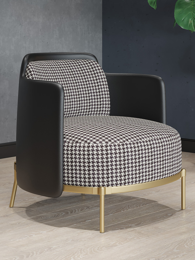 Light Luxury Single Sofa Chair Nordic Minimalist Living Room Houndstooth Leather  Combination Backrest Casual Tiger