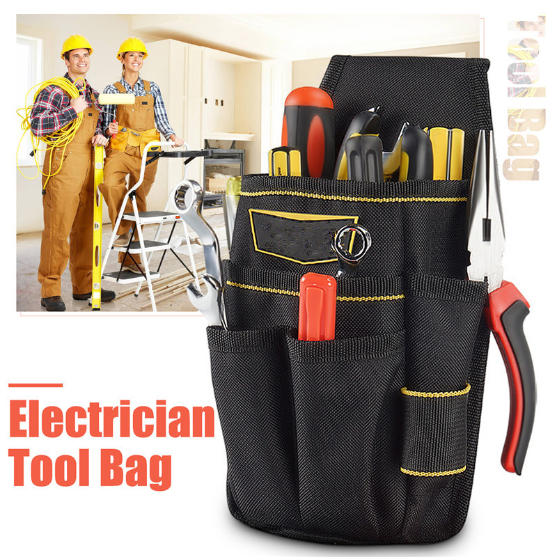 Electrician Tool Waist Bag Hammer Wrench Maintenance Pouch Bag Drill Hammer Storage Tool Bag With Adjustable Belt Tool Bags Tools - title=