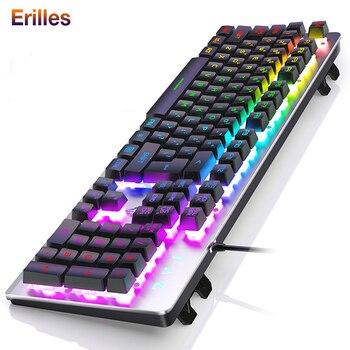 цена на Backlit Gaming Ergonomic Keyboard USB Wired 104 keys RGB LED USB Keyboard Gamer Keycaps PC Laptop Keyboads for Lenovo/Asus