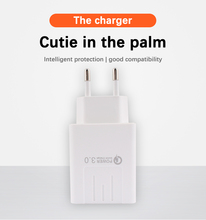 USB Charger Adapter 5V 3A EU Plug Travel Fast Charge Mobile Phone Cable Qualcomm Quick 3.0 Wall
