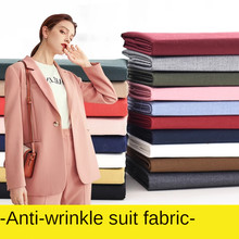 Black Fabric Anti-wrinkle Solid Color Suit Uniform Fabric Fashion Pants Dress Sewing White Blue Pink Brocade Blending Polyester