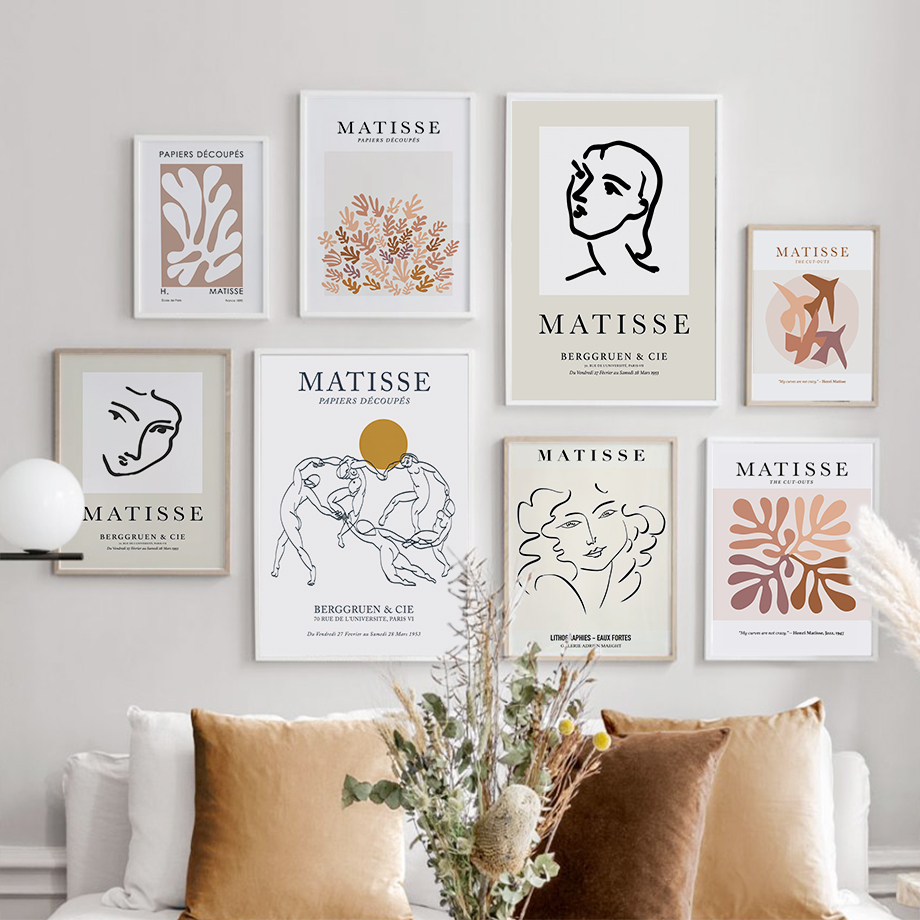 Wall Art Canvas Painting Matisse Abstract Lines Girl Face Coral Nordic Posters And Prints Wall Pictures For Living Room Decor