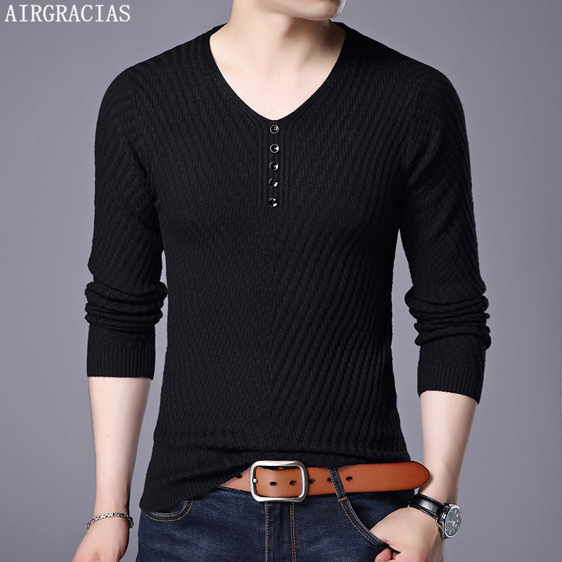 AIRGRACIAS Sweater Men Casual V-Neck Pullovers Men Autumn Slim Fit Long Sleeve Shirt Mens Sweaters Knitted Wool Pull Homme