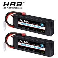 Batería Lipo HRB 2S para coche, 7,4 V, 7000mah, carcasa dura, con enchufe decanos, 55C, para Trex, coche, camión, barco monstruo, 1/12, 1/10, 1/2 paquetes