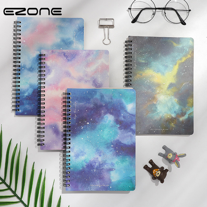 EZONE B5 Starry Night Notebook Thicken Notebook Sprial Loose Leaf Notebook Freshness Craetive Memo Pad School Office Stationery