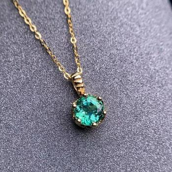 shilovem 18K yellow Gold real Natural emerald pendants fine Jewelry plant gift new plant none necklace 5*5mm  dz0505283ml 4