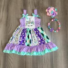 פסחא תינוק בנות אביב קיץ ילדי בגדי חלב משי קצר שרוול Braces שמלת unicorn באני הברך אורך להתאים אביזרים