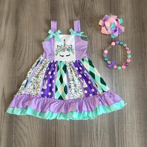 Image 1 - Easter baby girls spring summer children clothes milk silk short sleeve Braces dress unicorn bunny knee length match accessories