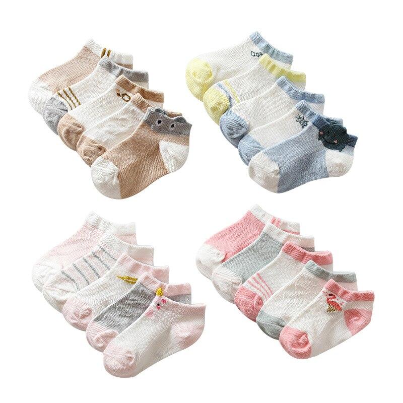 5 Pairs/lot Summer Mesh Socks For Newborns Baby Cute Cartoon Socks For Girls Thin Soft Cotton Boy Child Socks Infants