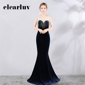 Evening Dress Tassel Velour O-Neck Prom Gown 2020 DX395-1 Long Plus Size Formal Party Gown Sleeveless Women Mermaid Abendkleider