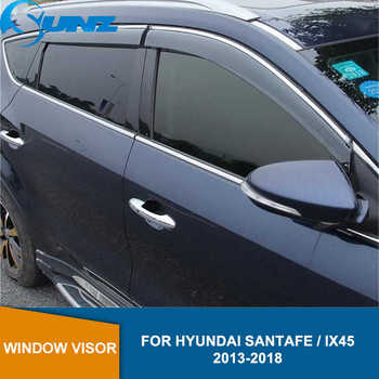 цена на Side Window Deflectors For Hyundai Santa Fe  Ix45 2013 2014 2015 2016 2014 2018 Smoke Car Wind Deflector Sun Rain Guards SUNZ