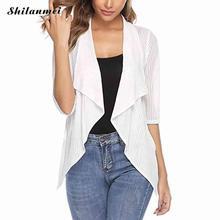 Transparent Blouses Cardigan Women 2019 Summer Autumn 3/4 Sleeve Lapel Irregular Cardigan Casual Solid Loose Short Cardigan cardigan beayukmui cardigan page 4