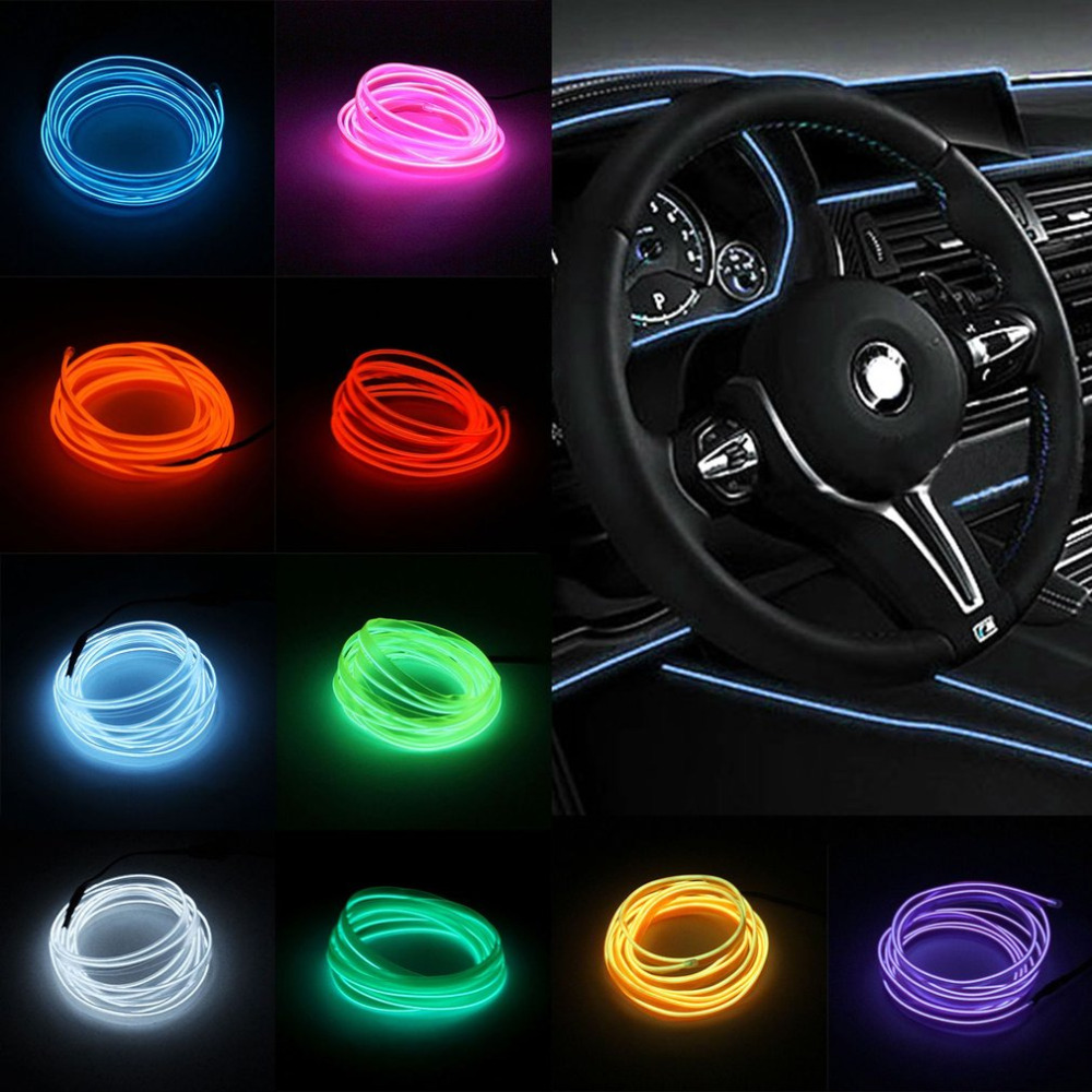 1PC LED EL Light Car Vehicle DIY Light Flexible Interior Decoration Moulding Light Strip Car Party Decoration Light Car-styling
