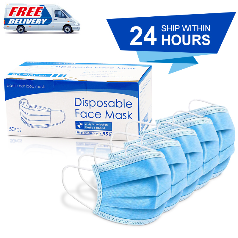 Drop Shipping 50pcs Disposable Face Masks 3 Layes Anti-Pollution Mask Dust Protection Facemask One Time Mount Masks