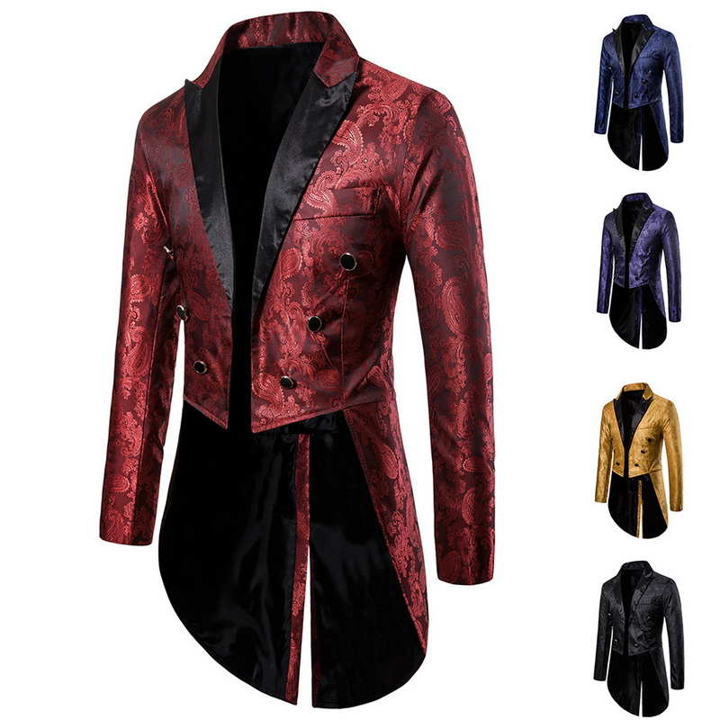 2019 Men Party Jacket Long Blazer Men Red Swallow-tailed Coat Stage  Magician Suit Jacket Brand Men Tuxedo Blazer