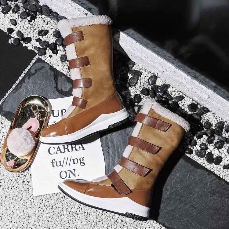 2019 Women Winter Boots Flat Pu Warm Snow Boots Women's Boots Winter Women Mid-Calf Platform Boots Faux Wool Blend Round Toe