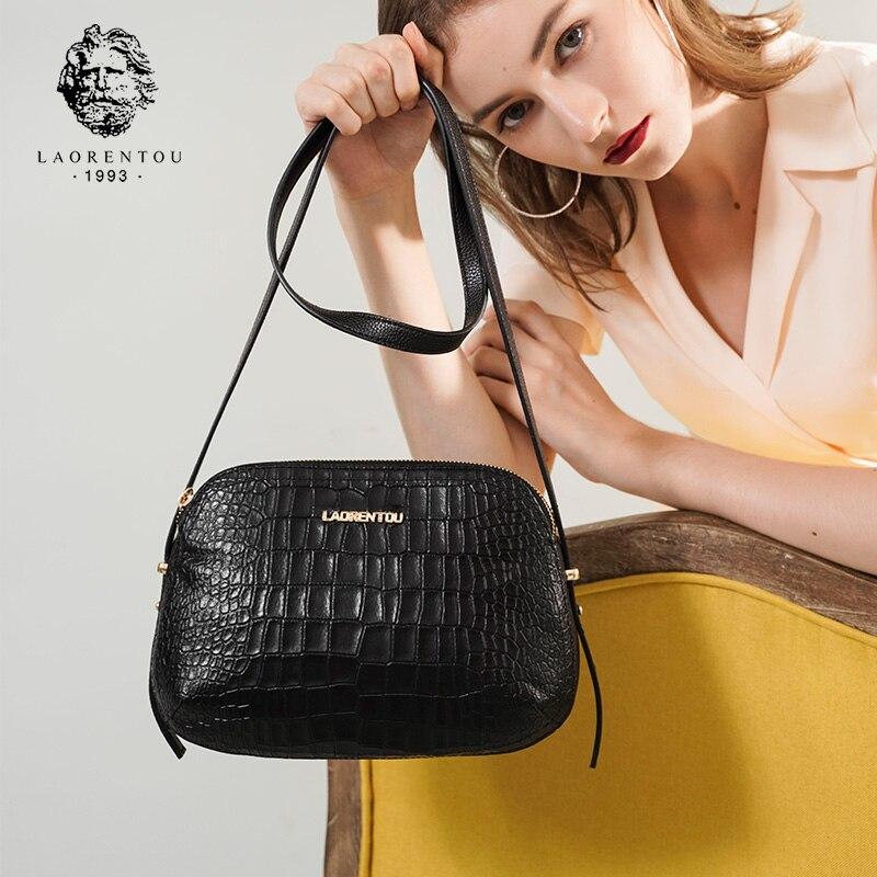 Laorentou Women Crossbody Bags Fashion Leather Bags Retro Alligator Shoulder Bag Purse Lady Tote Bag Valentine's Day Gift-in Bolsos de hombro from Maletas y bolsas    1