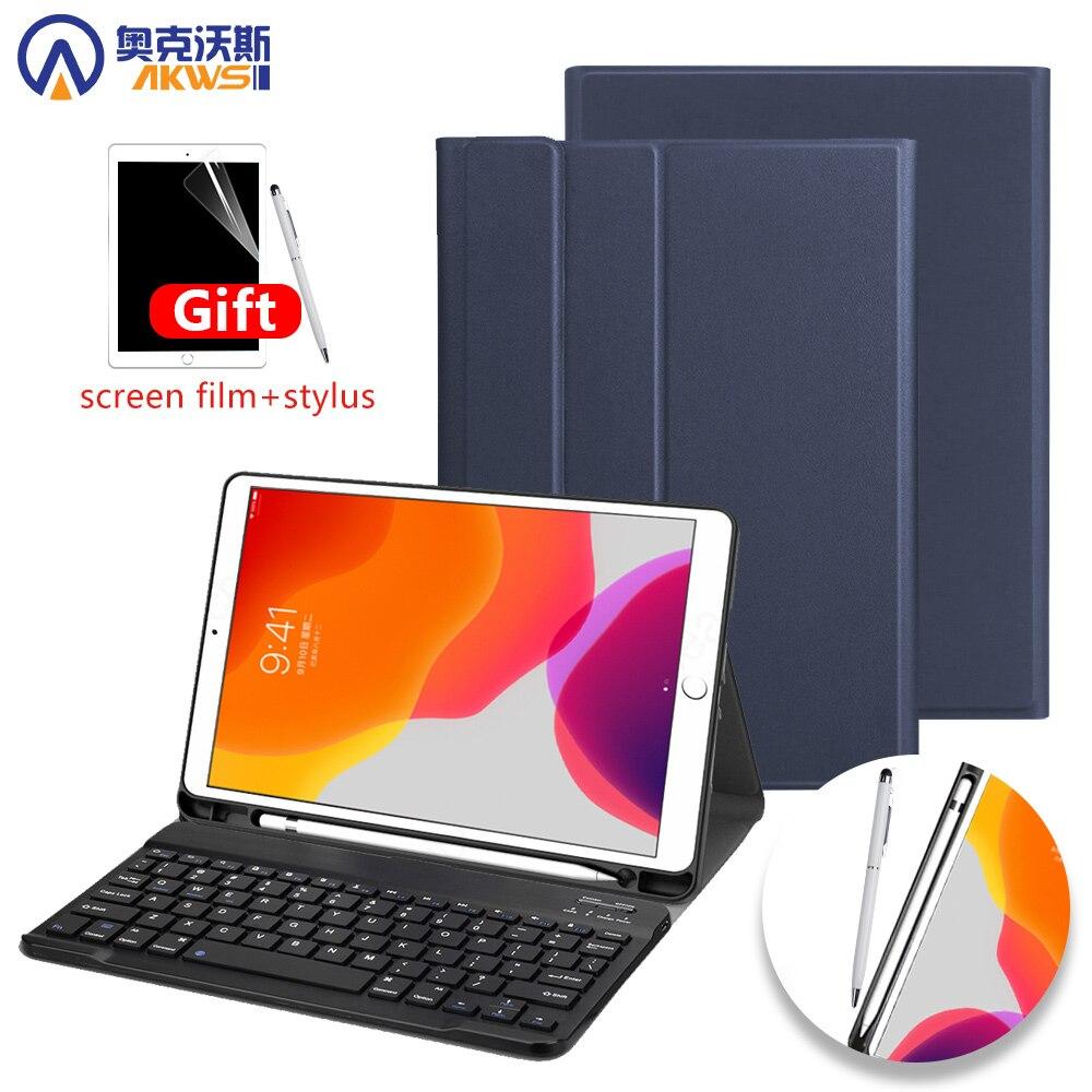 Caso do teclado para ipad 10.2 2019 com suporte de lápis caso para apple ipad 7th geração a2200 a2198 teclado sem fio capa