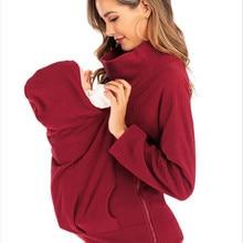 Hoodies Maternity-Hooded Carrier Jacket Pregnant-Women Kangaroo Zipper Coat Outerwear