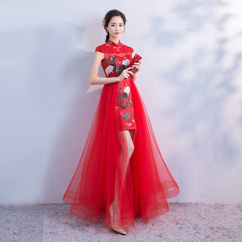 Long Cheongsam Chinese Style Wedding Sexy Slim Party Evening Dress Marriage Gown Qipao Fashion Lady Clothes red Nightclub dress