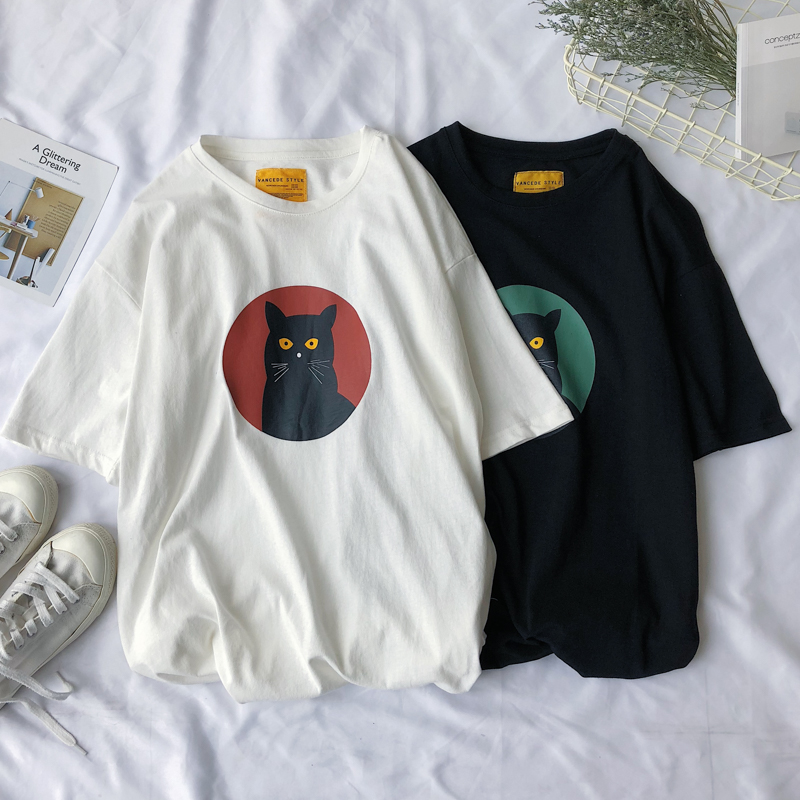 Funny Cat Print Oversized Summer T Shirt Short Sleeve O Neck Plus Size Tee Korean Style Minimalist Student Kawaii White Clothes