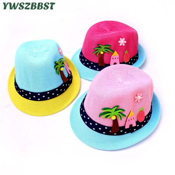 New Spring Summer Boys Girls Sun Hat Coconut Tree House Baby Straw Hat Kids Sun Cap Baby Bucket Hats Boys Girls Brim Beach Cap цена 2017