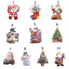 2020 New Year Instant Led Merry Christmas Wall Stickers Party Decoration Santa Claus Tree Snowman 3D PVC Sticker for K