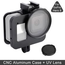 JINSERTA Aluminum Alloy Case for Gopro 8 Anti fall Protective Housing Case Cover Metal Frame UV Filter for GoPro 8 Hero Black