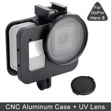 JINSERTA boîtier en alliage daluminium pour Gopro 8 couvercle de boîtier de protection antichute cadre métallique filtre UV pour GoPro 8 Hero noir