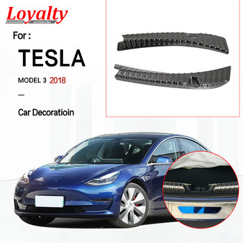 Loyalty For Tesla Model 3 2018 2019 Car styling Interior Rear Bumper Protector Sill Trunk Tread Plate Trim Stainless Steel black